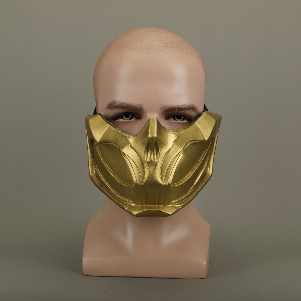 2019 New Mortal Kombat X Scorpion Hanzo Hasashi Sandal Wood Mask Half Face PVC Masks Adult Men Cosplay Costumes Halloween Mask (7)