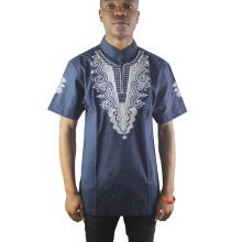 Africa Navy Blue Men`s Goat Embroidered Dashiki Tops Short Sleeved Ethnic Shirts for Male Wedding Wearing цена