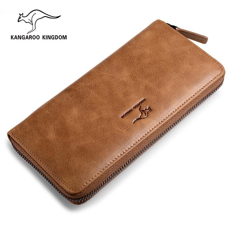 KANGAROO KINGDOM luxury vintage men wallets genuine leather long zipper clutch одежда из кожи china kangaroo long 10010