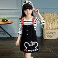 Conjuntos de Roupas meninas de Manga Longa Camisetas Listradas & Macacões Primavera Crianças vestidos Para Meninas T 4 6 8 10 12 Anos Crianças Outfits