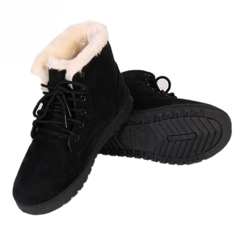 Women's Ladies Flat Lace Up Fur Lined Winter Martin Boots Snow ...