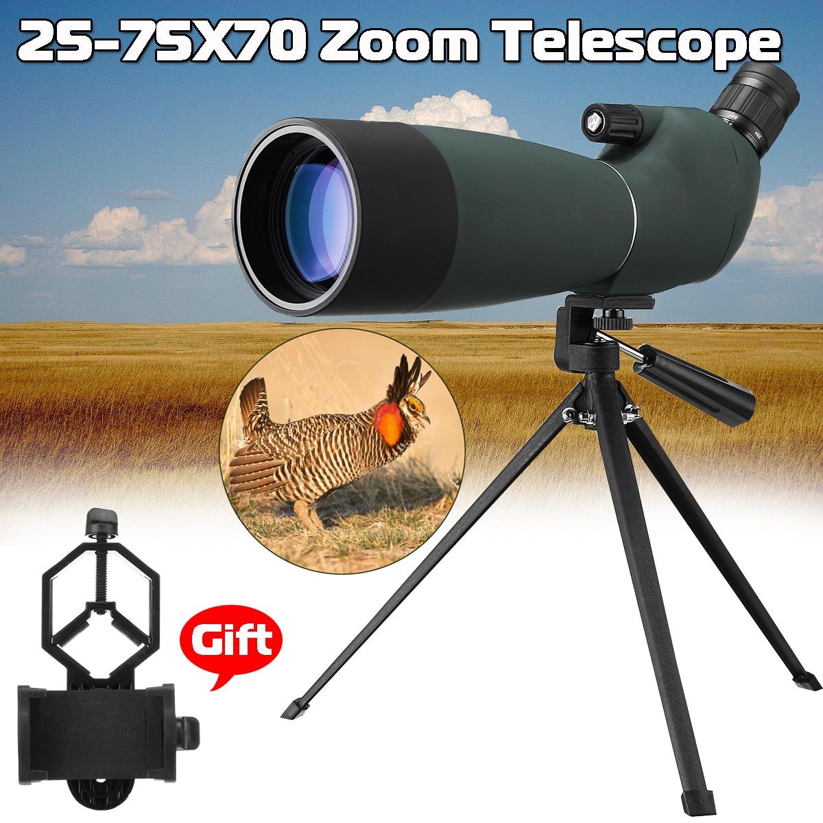 Outdoor 25-75x70 BAK4 Telescope Monocular Waterproof Zoom Spotting Scope binoculars with Tripod Phone Holder Hunting Optic Scope все цены