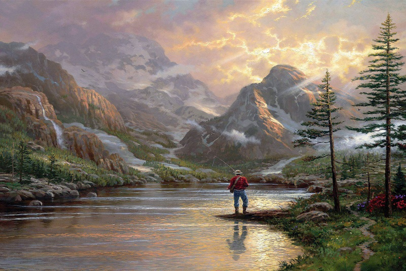 3d Wallpaper For Home Amazon Printed Thomas Kinkade Landscape Oil Painting On Canvas