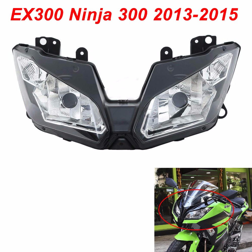 For 13-15 Kawasaki <font><b>Ninja</b></font> <font><b>300</b></font> EX300R EX300 Motorcycle Front <font><b>Headlight</b></font> Head Light Lamp Headlamp CLEAR 2013 2014 2015 image