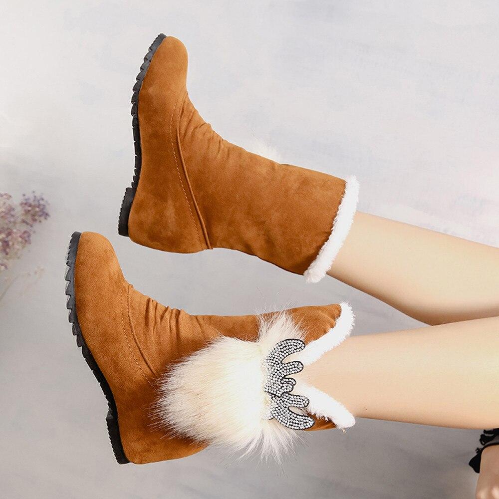 En Mujeres Dedo Redondo Botines rojo De 2018 Botas Xiniu marrón Mantener Antideslizante Zapatos La Caliente Color Negro Mujer Sólido Cuñas Del Venta Nieve Pie Fwf5fZxq