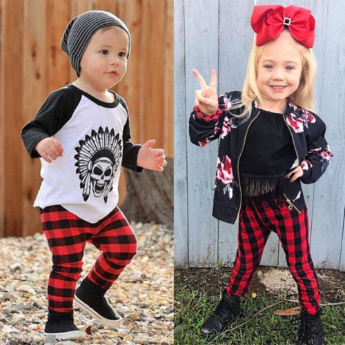 Leggings Pants Spring Bottoms Baby-Girl Autumn Checks Kids Casual Red Fashion Plaid Boys