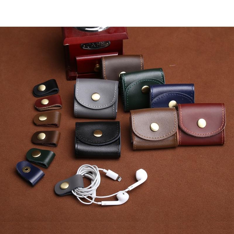 Vintage Coin Bag Man Women Genuine Leather Handmade Fashion 2018 Coin Purses Wallet Headphones Key Holder Pocket Bag Case