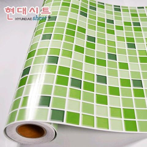 mode vert auto adhésif mosaïque stickers muraux pour salle de bains ...