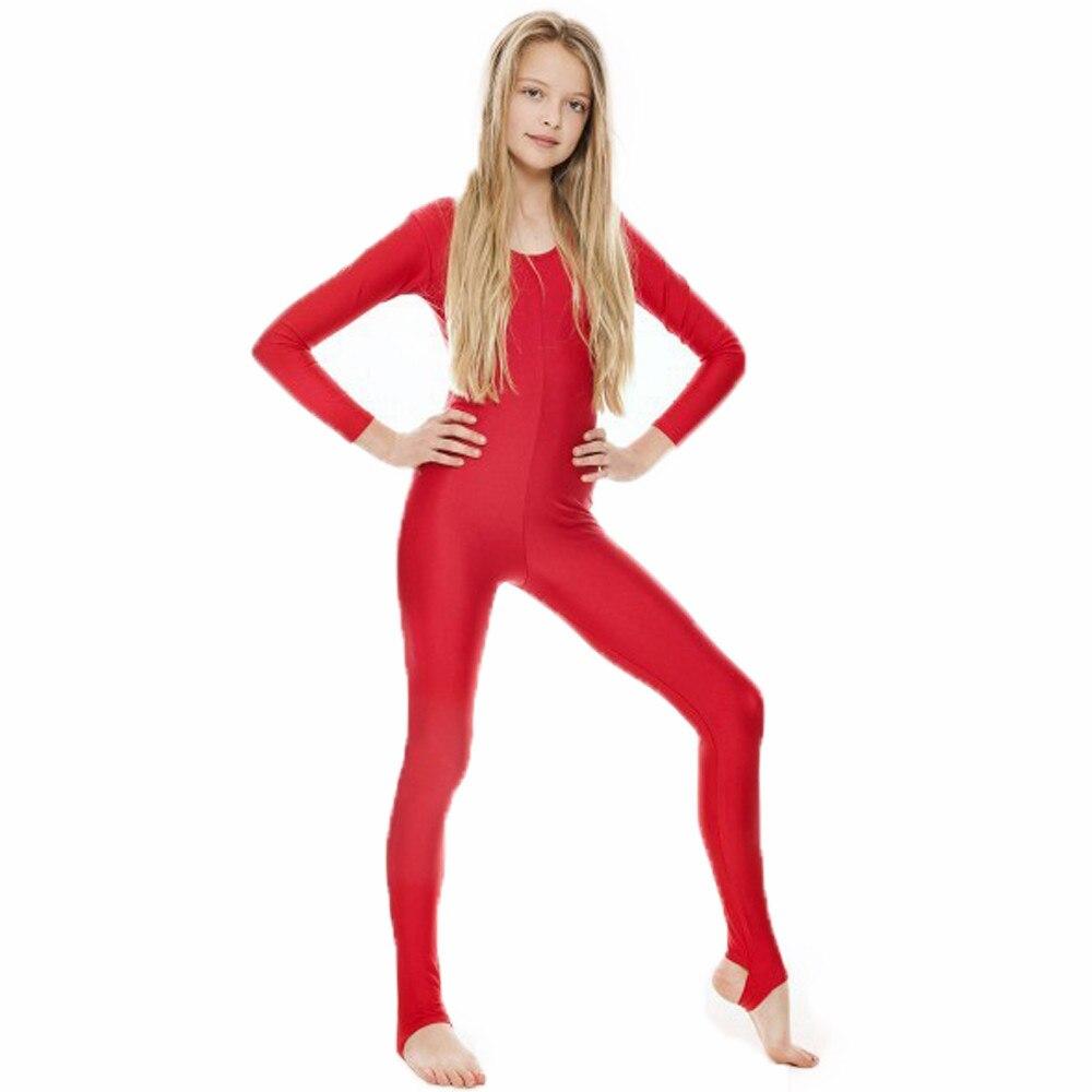 SPEERISE Girls  Long Sleeve Red Dance Unitard Kids Stirrups Catsuits Spandex Gymnastics Leotards Dancewear Free Shipping