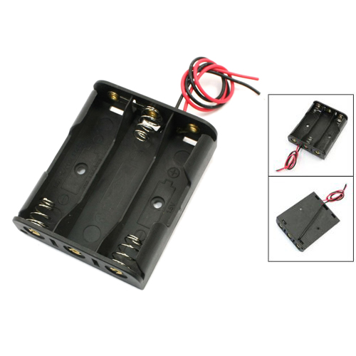 MasterFire 80pcs/lot New Battery Box Holder For 3 x AA Black With Wire Leads Plastic Storage Case Cover Free Shipping