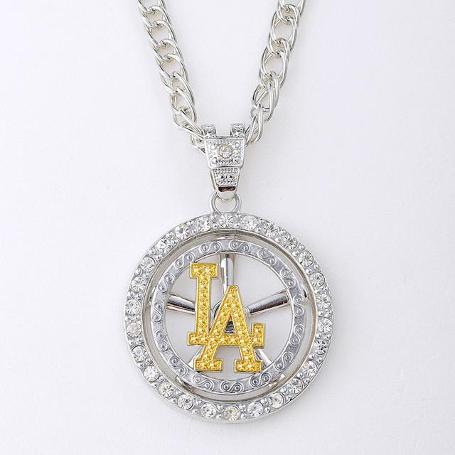Hip Hop 24 k ouro / prata homens jóias rotação LA pingente colar colares e pingentes para as mulheres