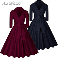 AuraPicco Women S Vintage 1950s Retro Rockabilly Prom Dresses Elegant V Neck Bow Audrey Hepburn Cocktail