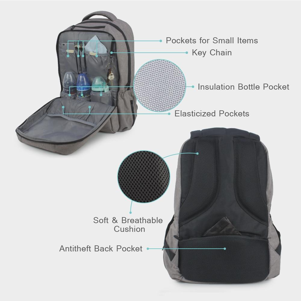 JF Nowa torba na pieluchy Fashion Tata Backpack Duża pojemność - Pieluchy i Trenowanie toalety - Zdjęcie 5