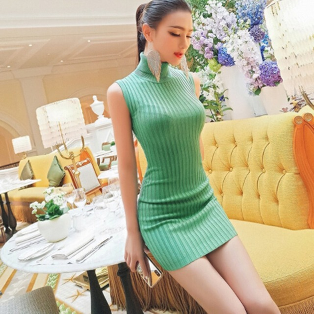 2019 Sexy women dress Knitted Sleeveless Dresses Solid Color Mini Candy Color Bodycon Turtleneck women dress