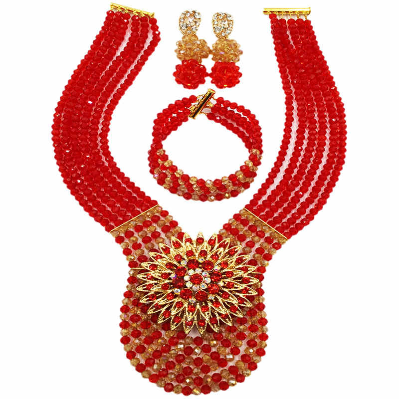 Fashion African Wedding Nigerian Beads Jewelry Set Red and Gold AB Beaded Necklace 6C-XJZ014