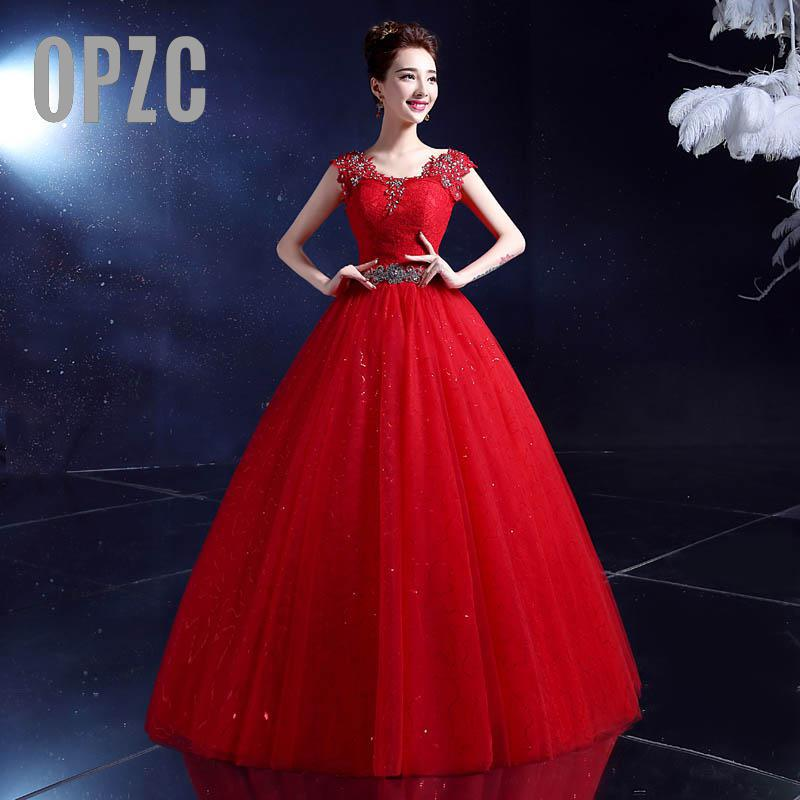 Free Shipping Vintage Lace Romatic Red Wedding Dresses Plus Size Ball Gown Robe de Mariee Cheap