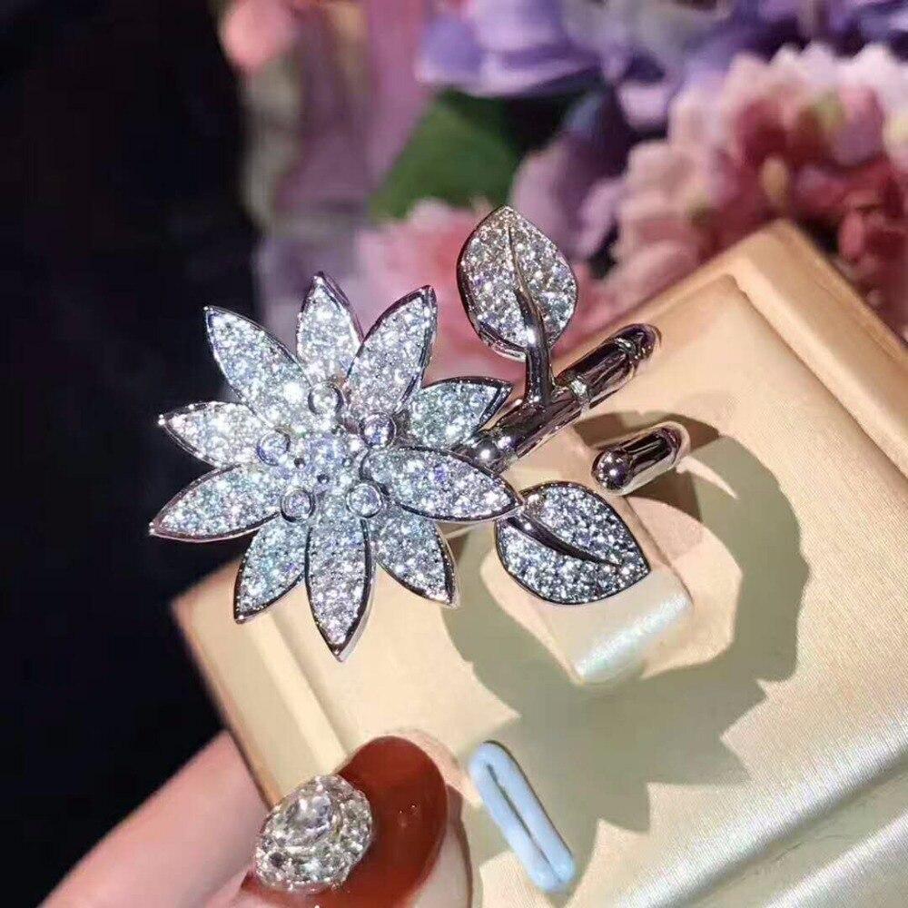 XIFAN romantique mariage fleur anneau bijoux Xubic zircone anneau pour les femmes placage 925 pur argent anneau accessoires