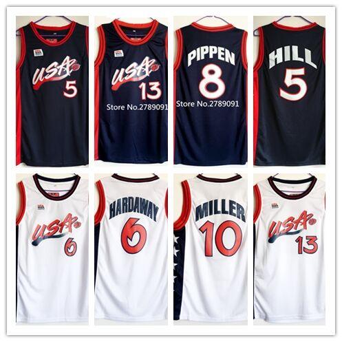 f5ea6fa6e07f  4 Charles Barkley  5 Grant Hill  6 Penny Hardaway  10 Reggie Miller  13  Shaquille O Neal Dream Team USA basketball jersey