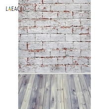 Laeacco Brick Wall Wooden Board Backdrop Splice Planks Ground Photography Background Customized Backdrops For Photo Studio