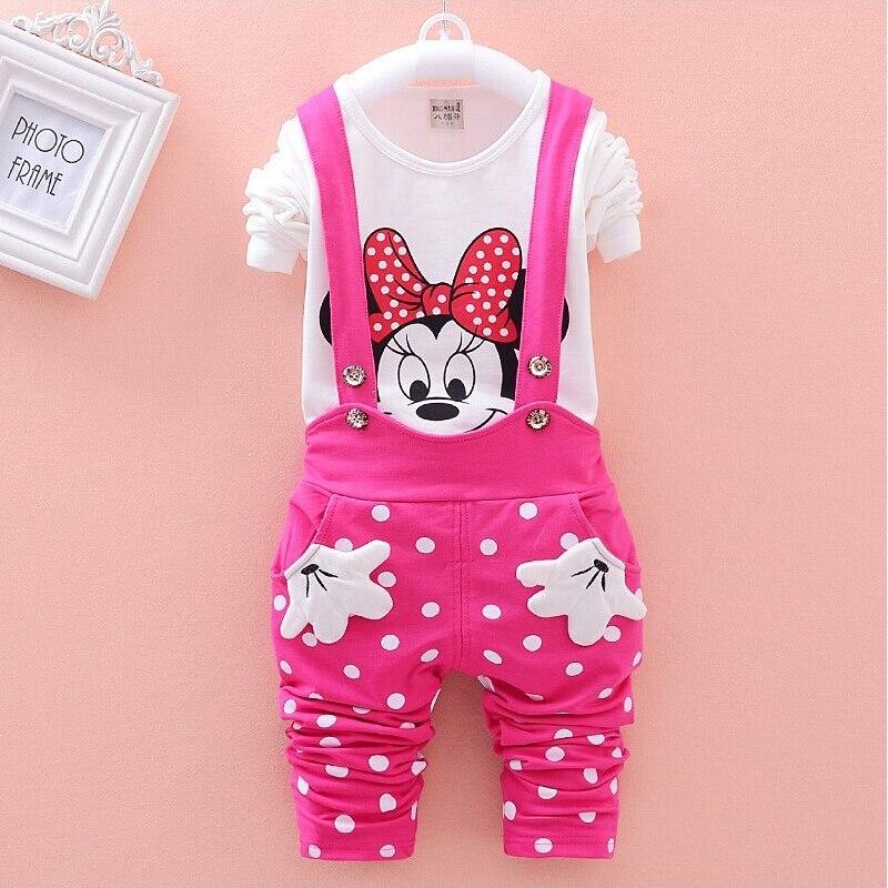 Bebé niñas Minnie tela es conjunto niños de dibujos animados de manga larga T-Shirt punto cinturón pantalones conjunto de ropa de niño de bebé traje de deporte