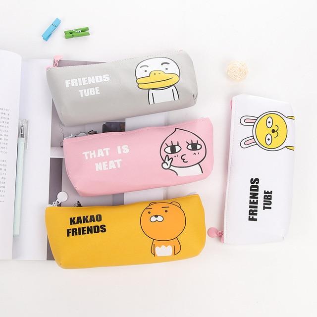 ccdb5eff27 Cartoon animals school pencil case for kids gift kawaii cat PU Leather pen  bag korea Stationery pouch school supplies escolar