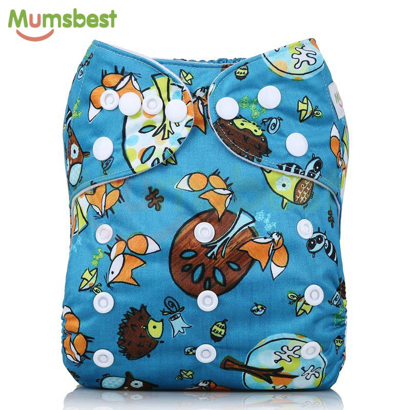 [Mumsbest] 2018 New Arrival Baby Cloth Diaper Cover Waterproof Cartoon Fox Baby Washable Diapers Pocket Reusable Cloth Nappies [mumsbest] new design baby cloth diaper with microfiber insert waterproof pul digital position reusable pocket cloth nappies
