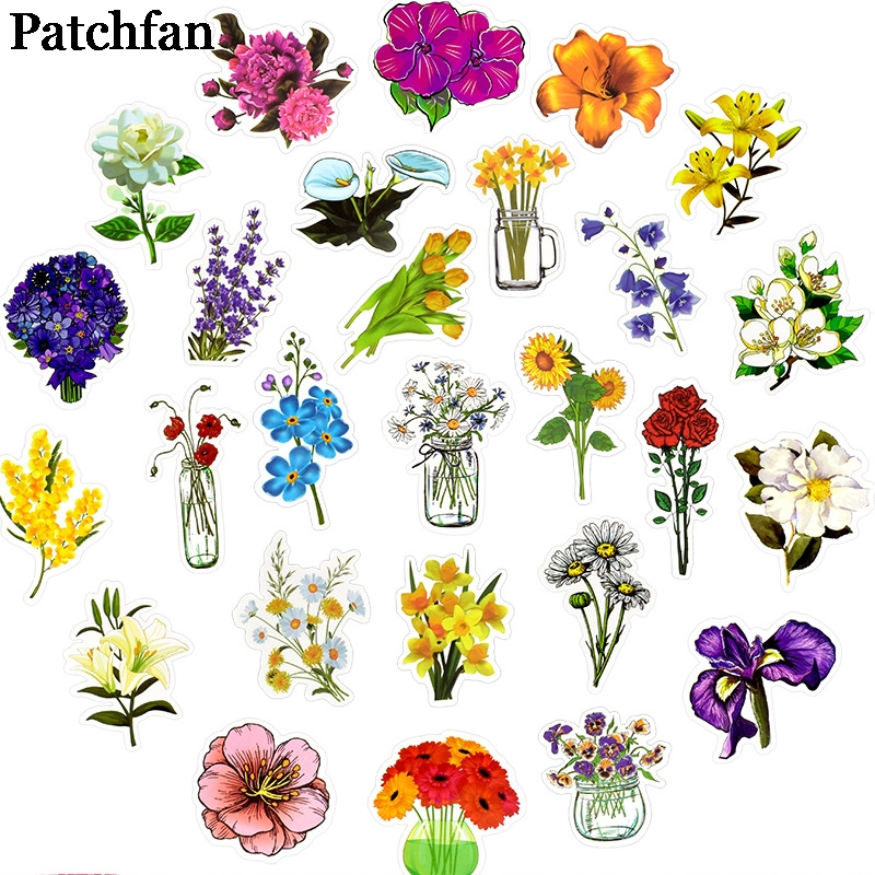 Patchfan 50pcs plants flowers funny Pvc Stickers For diy decoration scrapbooking Luggage Skateboard Laptop Wall Guitar A2055 in Stickers from Home Garden