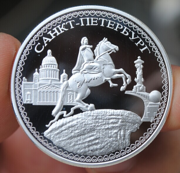 Bitcoins Egale Russian Ukraine Silver Plated Physical Riding Peter The Great Casascius Bit Money Collection No Value In Non Currency Coins From