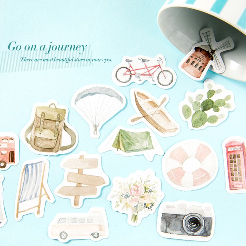 46pcs/lot Travel Life Camera Sailboat Paper Sticker Decoration Stickers DIY Ablum Diary Scrapbooking Label Sticker