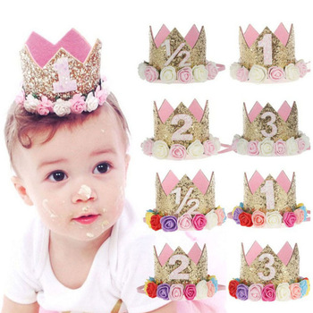 1pc Happy Birthday Party Hats Decor Cap One Birthday Hat Princess Crown 1st 2nd 3rd Year Old Number Baby Kids Hair Accessory