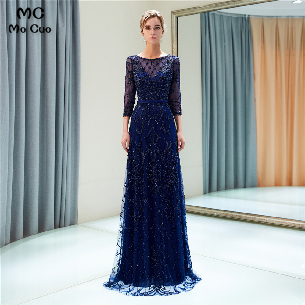 Luxuries Navy Blue   Prom     Dresses   with Beaded Crystals Tulle Sweep Train 3/4 Sleeves Evening Gown   Prom     Dresses   Custom Made