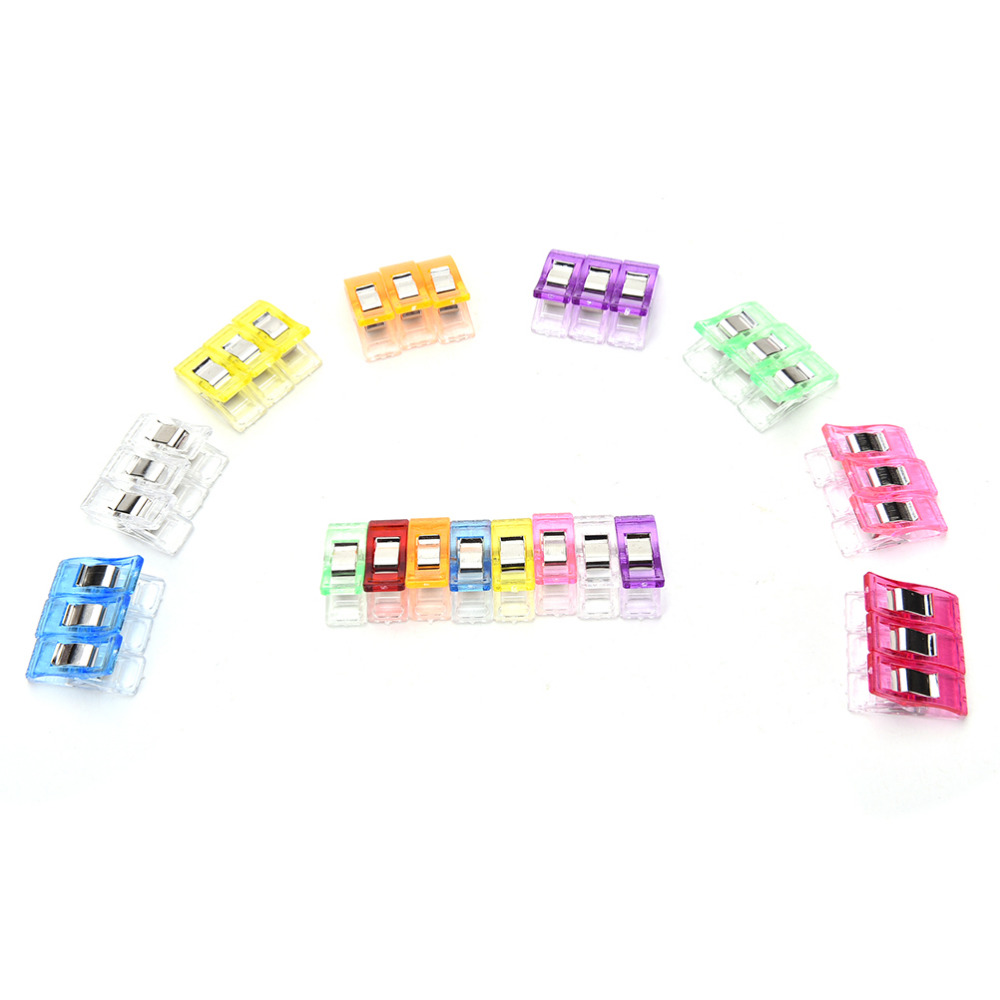 50Pcs High quality multicolor Plastic Clips For Patchwork Sewing DIY Crafts, Quilt Quilting Clip Clover Wonder Clip 9 Colors