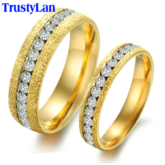 trustylan anelli diamanti crystal gold color wedding rings for men and women his and hers promise - His And Hers Wedding Rings