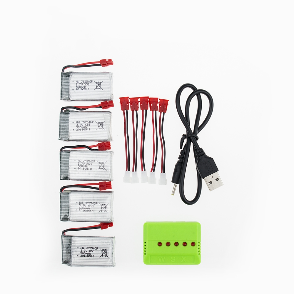 5pcs 3.7V 500mAh Drone Rechargeable Li-polymer Battery 752540P + Charger Set For RC Syma X5C X5SC M68 Cheerson CX-30