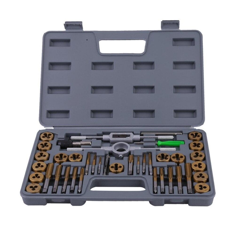 40 Pcs Threaded Cutters Drills Set Metric Adjustable Dies Taps Wrench Handle Screw Thread Plugs Straight Taper Drill Hand Tools 20pcs m3 m12 screw thread metric plugs taps tap wrench die wrench set