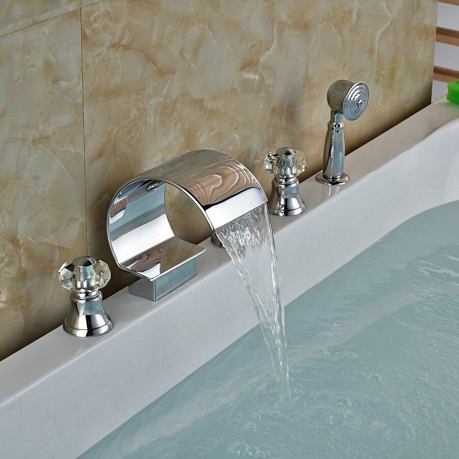 Modern Chrome Brass Waterfall Bathroom Tub Spout Crystal Handles Tub Mixer Tap modern chrome brass bathroom tub faucet c curved waterfall spout sink mixer tap