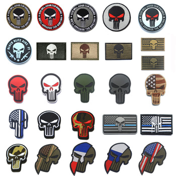 Skull Embroidered Badge Military Patches Stripe Tactical patch for Clothing Backpack Armband stripes with Hook  Loop wholesale 50 100 pieces military pvc patches velcro rubber armband 3d tactical badge patches for backpack hat clothes jacket