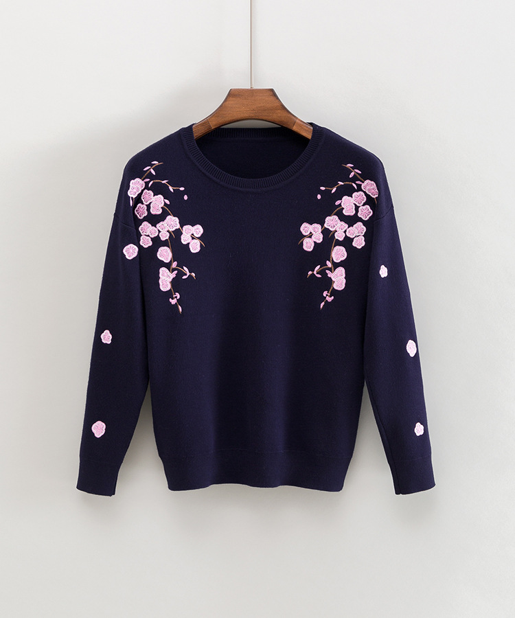 NiceMix Knitted Pullover Sweater Women 2019 Autumn Winter Elegant Flower Embroidery O neck Pullovers Female Cotton Sweaters in Pullovers from Women 39 s Clothing