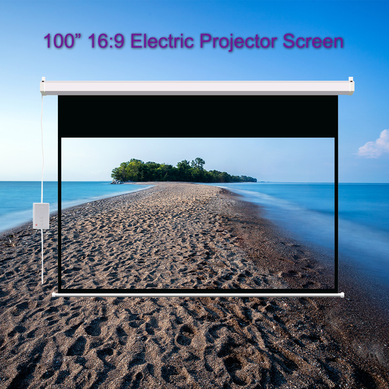 100 inch 16:9 Electric Projector Screen Home Cinema Business School Bar Motorized LED DLP Projection Screen with Remote Control image