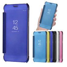 A8+ Luxury Flip Case For Samsung Galaxy A8 2018 Smart Clear View Mirror Leather Cover Plus a8+ A5 A7