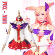 PU Leather Made!High Quality Game LOL figure Ahri Magic Lady Dress+Wig Full set Halloween Party Sexy Cosplay costume for women(China)