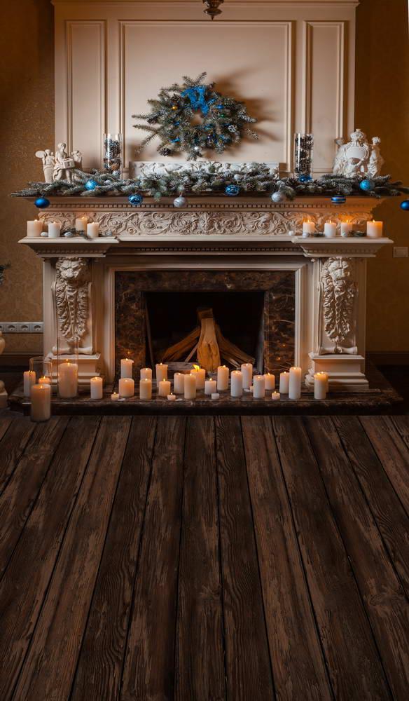 Fotografia Xmas fireplace photo background decorated lovely Christmas tree for photo backdrop for studio photo shooting