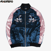 MADHERO Crane Embroidery Bomber Jacket Men High Quality European Size Fashion Cotton Liner Rib Coat Thick