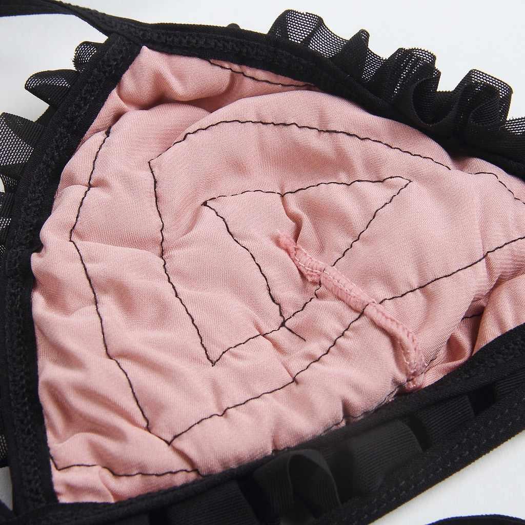 Wanita Perincian Ropol Bra Lingerie Satin Celana Piyama Baju Tidur Celana Set Wanita Piyama Set Rayon Baju Tidur Celana Panjang Dua Setelan E55