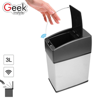 Geekinstyle 3L Mini Stainless Steel garbage can touchless automatic car dustbin small kitchen sensor trash can Table waste bin