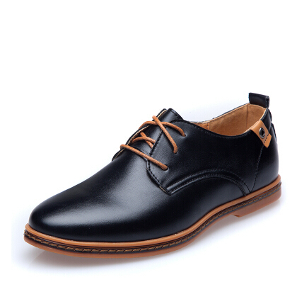 Large Size Men Leather Shoes Casual Oxfords Shoes Fashion Business Formal Flat Shoes Breathable Male Dress Oxford Shoes 2A