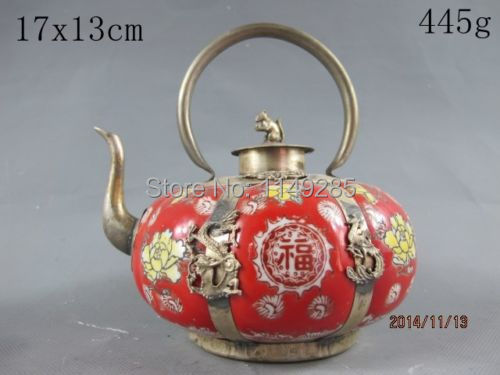 Christmas gift China Collectible handwork Red porcelain teapot Silver Mouse lid