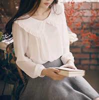 2019 printemps femmes à manches longues doux col claudine blanc en mousseline de soie chemise Blouses décontracté doux printemps Blouse hauts
