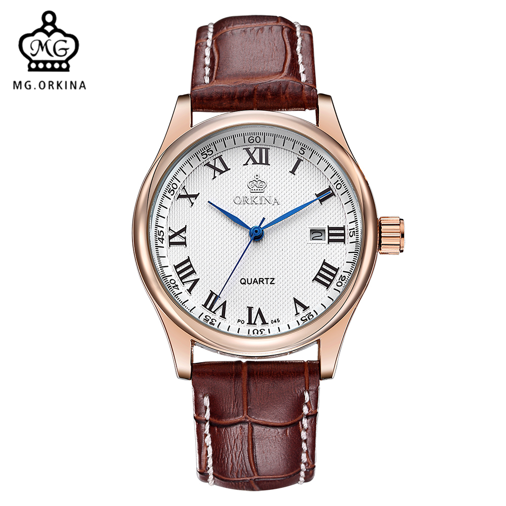 MG. ORKINA Male Clock Luxury Rose Golden Case Leather Strap Horloges Mannen Japan Movement Auto Date Display Quartz Men Watches mg orkina fashion casual mens watches red dial luminous hands japan movt auto date waterproof male quartz wristwatche