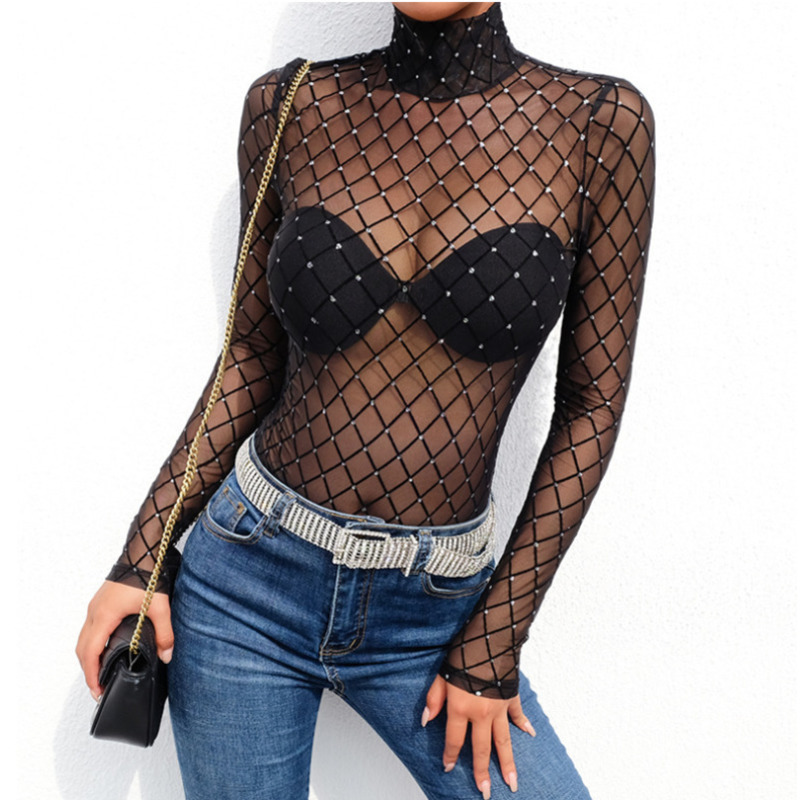 JIEZuoFang Mesh Bodysuit Women 2019 Sexy Transparent Slim Party Jumpsuit Short See Through Long Sleeve Turtleneck Bodysuits